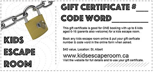 gift cards kids escape room
